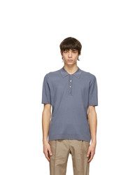 Dunhill Blue Diagonal Texture Polo