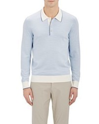 Fioroni Fioroni Knit Long Sleeve Polo Shirt Blue Size M