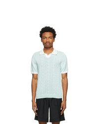 Ernest W. Baker Green Cable Knit Polo
