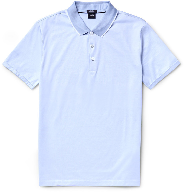 HUGO BOSS Linen T-shirt - Light blue