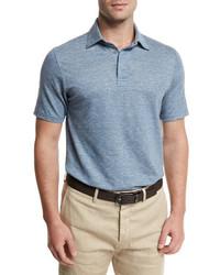 Ermenegildo Zegna Melange Striped Short Sleeve Polo Shirt Light Blue