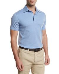Ermenegildo Zegna Short Sleeve Pique Polo Shirt Light Blue
