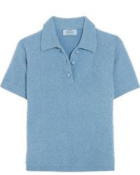 Prada Wool Blend Boucl Polo Shirt Sky Blue