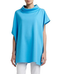 St. John Collection Milano Knit Asymmetrical Poncho With Stand Collar
