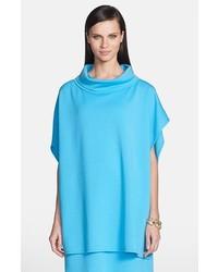 St. John Collection Milano Knit Stand Collar Asymmetrical Poncho Turquoise Petitesmall Petitesmall