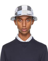Thom Browne Grey Blue Patchwork Bucket Hat