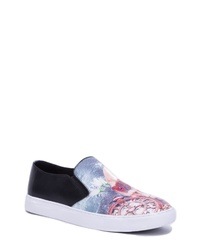 Light Blue Print Canvas Slip-on Sneakers