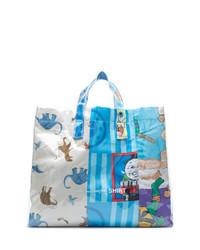 Light Blue Print Canvas Tote Bag