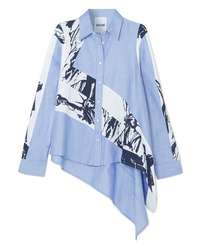 Koché Oversized Asymmetric Cotton Chambray And Printed Poplin Shirt
