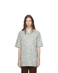 Gucci Blue Chambray Print Oversized Shirt