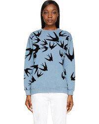 Light Blue Print Crew-neck Sweater
