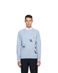 Drakes Blue Cashmere Intarsia Golf Sweater