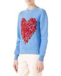 Corsage intarsia wool knit top light blue medium 877108