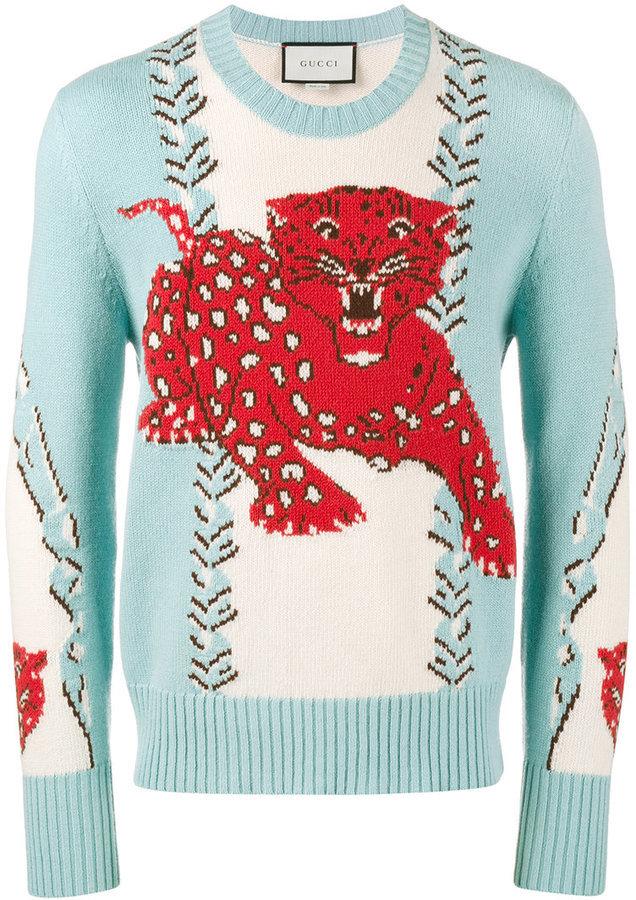 5fbb502ecdae ... Gucci Leopard Intarsia Sweater ...