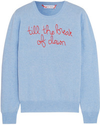 Lingua franca till the break of dawn embroidered cashmere sweater light blue medium 5422787