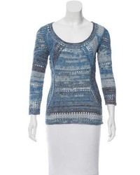 Printed open knit sweater medium 5422782