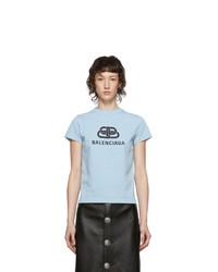 Balenciaga Blue Logo Fitted T Shirt