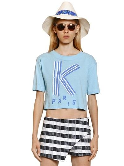 1af4572d1d106 ... Kenzo Logo Printed Cotton Jersey Crop T Shirt