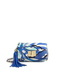 Light Blue Print Crossbody Bag