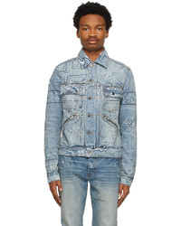 Amiri Blue Denim Banada Print Trucker Jacket