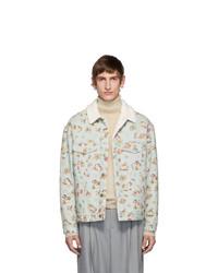 Gucci Blue Denim Sherpa Graphic Jacket