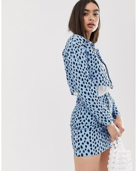 Missguided Co Ord Cropped Denim Jacket In Blue Dalmatian Spot