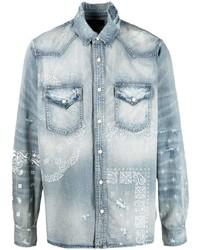 Amiri Graphic Print Denim Shirt