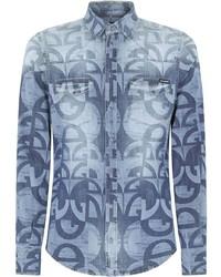 Dolce & Gabbana Logo Print Denim Shirt