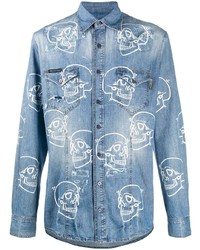 Philipp Plein Skull Print Denim Shirt
