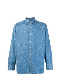Canali Splatter Print Denim Shirt