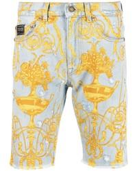 VERSACE JEANS COUTURE Baroque Print Denim Shorts