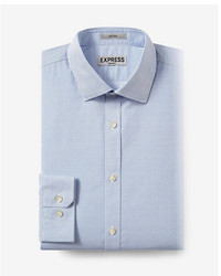Express Fitted Micro Print Blue Non Iron Dress Shirt