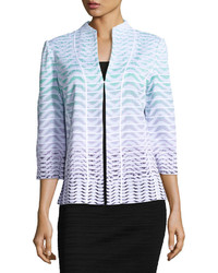 Ming Wang Ombre Wavy Print Knit Jacket Multi