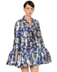 DELPOZO Ruffled Floral Printed Lurex Jacket