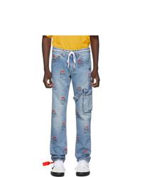 Off-White Blue Bleach Logo Jeans