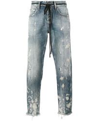 Off-White Diagonal Stripe Print Cropped Jeans