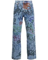 Vetements Graffiti Print Straight Leg Jeans