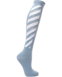 Off-White Metallic Intarsia Cotton Blend Socks Light Blue