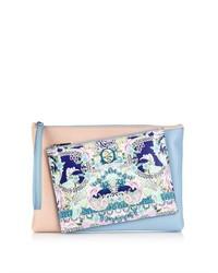 Rose garden print detachable leather clutch medium 178693