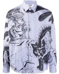 MSGM Comic Print Striped Shirt