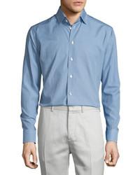 Eton Golf Club Print Long Sleeve Sport Shirt Blue