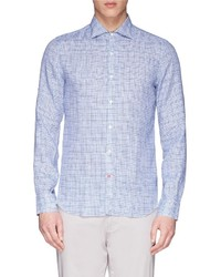 Isaia Check Print Linen Broadcloth Shirt