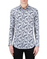 Shaped fit print sport shirt medium 4422923