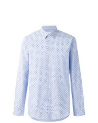 Men s Light Blue Print Long Sleeve Shirt, White Chinos, Dark Brown ... ab59c48b956