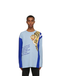 Kenzo Blue Kansaiyamamoto Edition Oversize Seasonal Logo Long Sleeve T Shirt