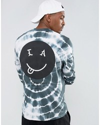 Asos Relaxed Long Sleeve T Shirt With Face Back Print And Tie Dye