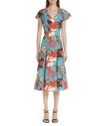 Etro Floral Print Flutter Sleeve Dress