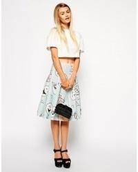 Light Blue Print Midi Skirt