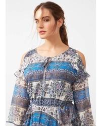 Light Blue Print Off Shoulder Dress