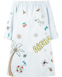 Mira Mikati Printed Off Shoulder Dress